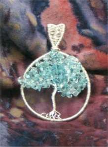 Sterling Blue Topaz Tree of Life Pendant