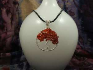 Sterling Carnelian Tree of Life Pendant on Black Spinel Necklace